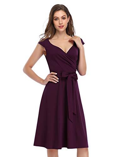 KOJOOIN Vestidos de Noche Vintage para Mujer Vestidos de los años 50 con Cuello en V Vestidos de cóctel Estilo Hepburn