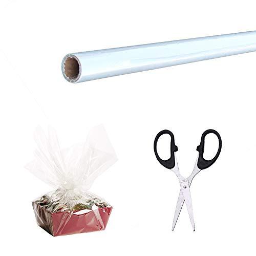 Pellicola TRASPARENTE CELLOPHANE rotolo larghezza 80CM 100M di lunghezza floristy pacco regalo tipo Oasis