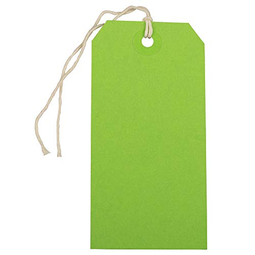 JAM PAPER Gift Tags with String - Medium - 4 3/4 x 2 3/8 - Green - Bulk 100/Pack