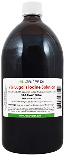 7% Lugols Iodine Solution | 33.8 Fl Oz - 1000 ml | Iodine Supplement | 21% Liquid Formulation | Made with 7 Percent Iodine and 14% Potassium Iodide | Heiltropfen