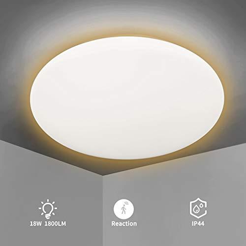 LED Deckenleuchte mit Bewegungsmelder, 18W LED Deckenlampe mit Bewegungssensor Sensorleuchte für Flur Treppe Korridor Balkon Keller Garage, IP44 Wasserfest Warmweiß 3000K