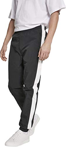 Urban Classics Herren Hose Side Striped Crinkle Track Pants Blk/Wht Größe: L