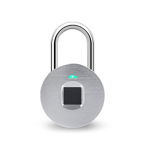 hardwrk Fingerprint Lock - Silber - Smartes Vorhängeschloss mit Fingerabdruck-Leser - Wetterfest nach IP65 - Schnelles, sicheres Entsperren - Finger Abdruck Schloss Silver