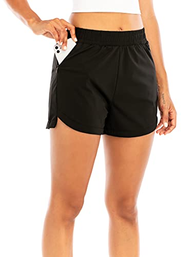 """RUNNING GIRL Women's 3"""" Running Quick-Dry Athletic Shorts with Zipper Pockets Elastic Waist Gym Outdoor Beach Hiking Workout Volleyball (DK2730_Black_S)"""