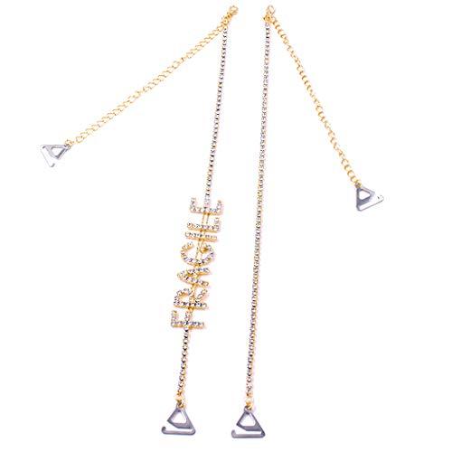 Yanhonin - Tirantes de sujetador con letras de estrás, ajustables dorado Small