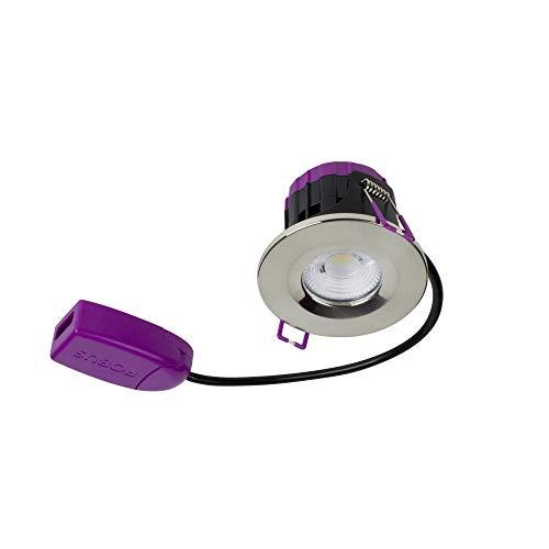 LED Robus 5W LED Ultimum 30/60/90 Minute LED Downlight avec IP65 étanche protection pour salle de bain 85mm Fourni avec lunette blanche et boîte de dérivation, 240V LED Blanc chaud