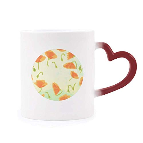 DIYthinker Blüten Pflanze Goldene Mohn Dekoration Malerei Morphing Becher-Hitze-Sensitive roter Herz-Cup Mehrfarbig