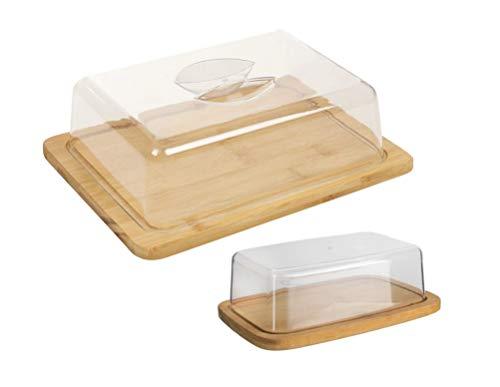 Vita Perfetta - Bandeja para queso y mantequero de bambú – Caja de queso de bambú, ideal para almuerzo, picnic, cocina