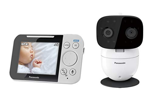 Panasonic Long Range Video Baby Monitor with 2 Way Talk, Remote Pan/Tilt/Zoom and Lullaby (KXHN3051), White