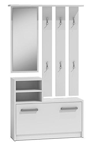 ADGO - Set di mobili da corridoio, con specchio, appendiabiti e scarpiera, 6 ganci per vestiti e cappotti, guardaroba compatto per il vostro ingresso (bianco)
