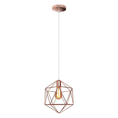 Lámpara de techo, diseño geométrico moderno de jaula de pájaros, lámpara de techo E27, para cocina, comedor, sala de estar, oro rosa