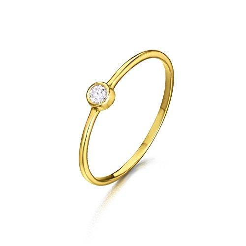 Anillo/Solitario con diamante talla redonda de 0,050 quilates (H-SI) en la parte central. Fabricado en Oro 18kt de LECARRÉ JOYAS.