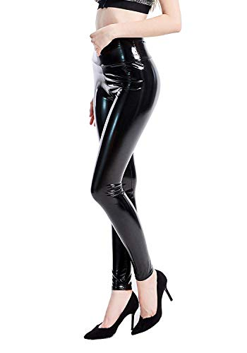 INDJXND Black Satin Faux Leather Leggings for Women Shiny Liquid Sexy Tights Trousers (Black, L fit Waist 28'' - 35''/ Hips 41'')
