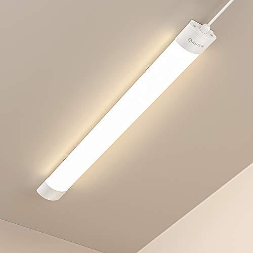 5 lámparas LED Anten para ambientes húmedos   36 W 120 cm lámpara de techo   4200 lm blanco neutro 4000 K   IP65 resistente al agua lámpara de garaje para sótano, garaje, taller, etc.