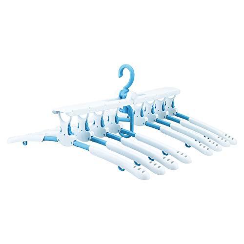 ダイヤ ワンタッチハンガー8連 スライド ライトブルー ・ ホワイト 横約52.5cm×縦約41cm×高約23.5cm