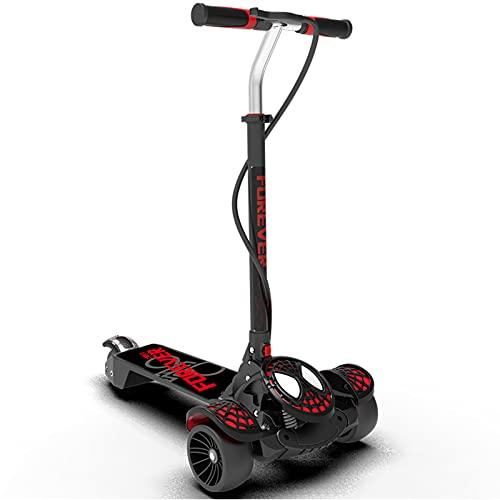 PTHZ Scooter Infantil, Patada Scooter Durante 3-12 años, 5 Altura Ajustable y Ruedas Luminosas de PU, adecuadas para Juguetes al Aire Libre para niños y Adolescentes,Rojo