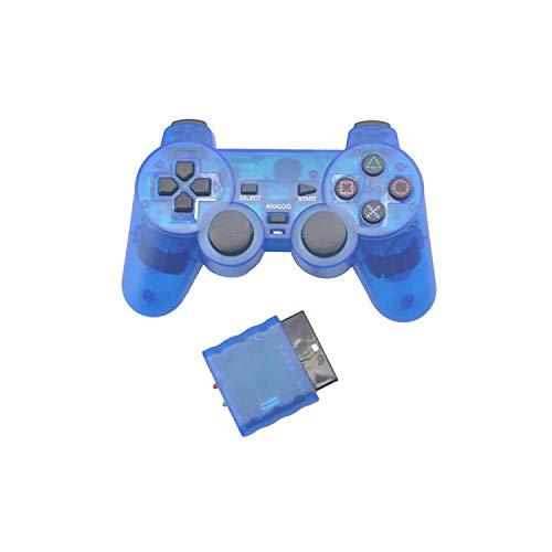 Optimiert für Spiele  Transparenter Farbcontroller für Sony Ps2 Wireless Bluetooth Controller 2.4G Vibration Control Gamepad für Playstation 2-Blue-