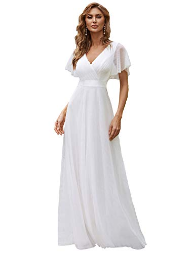 Ever-Pretty Robe de Mariage Col en V Manches Courtes A-Line Taille Empire Longue Tulle Femme Blanc 36
