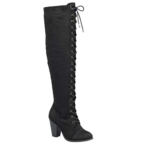Forever Camila-47 Women's Chunky Heel Lace Up Over The Knee Brown High Riding Boots,Black Suede,6