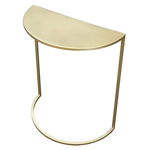 XWZJY Semicircle Metal Side Table,Gold Tea Coffee Table,Sofa Small End Tables for Living Room Balcony Home,Easy to Clean