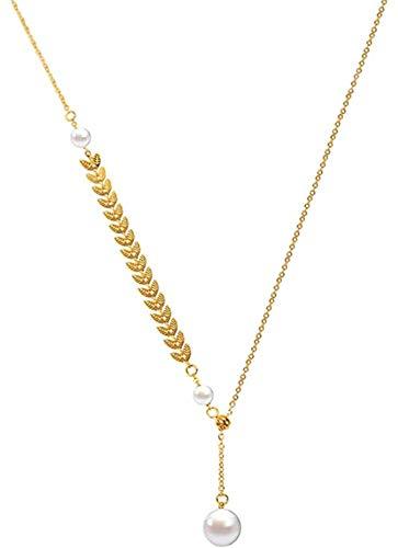 Ahuyongqing Co.,ltd Collar Collar de Perlas de Oreja de Trigo Cadena de suéter para Mujer Cadena de clavícula