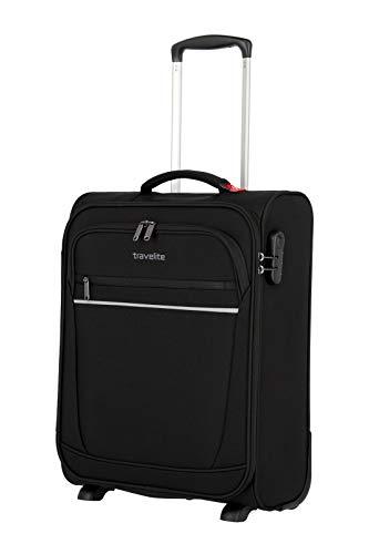 travelite 2-Rad Handgepäck Koffer mit Schloss erfüllt IATA Bordgepäck Maß, Gepäck Serie CABIN: Kompakter Weichgepäck Trolley, 090237-01, 52 cm, 39 Liter, schwarz