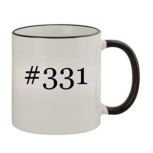 #331-11oz Ceramic Colored Rim & Handle Coffee Mug, Black