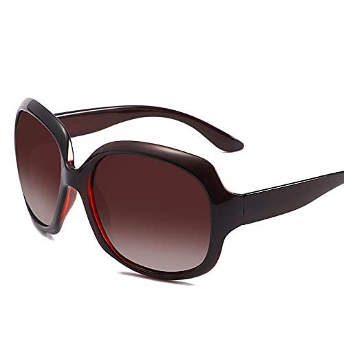 XDOUBAO Gafas de sol Gafas de sol Señoras Moda Gran marco Gafas de sol polarizadas gradualmente gafas de sol-Té