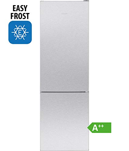 Bomann Kühl-/Gefrierkombination KG 7321 / Easy-Frost/Wechselbarer Türanschlag/LED-Beleuchtung, Edelstahl