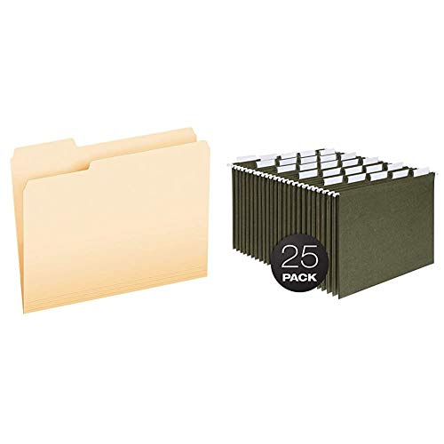 Pendaflex File Folders, Letter Size, 1/3 Cut, Manila, 250 per Box (752250) & Hanging File Folders, Letter Size, Standard Green, 1/5-Cut Adjustable Tabs, 25 Per Box (81602)