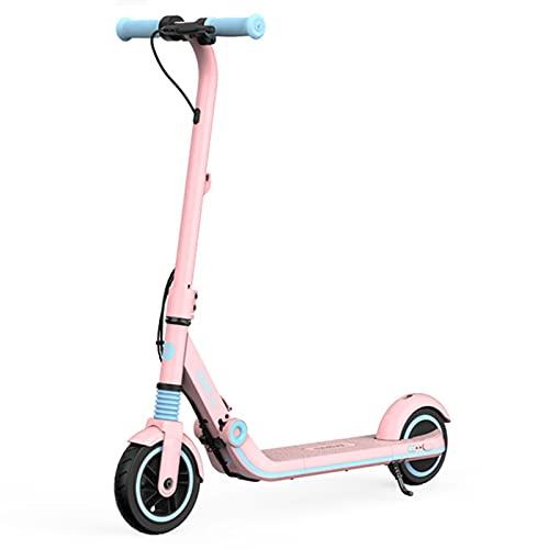 Trottinette Scooter électrique pour Enfants, avec Design D'amortissement à Ressort, Il Peut Facilement Faire Face à Diverses Surfaces Routières, Pliable Facile à Transporter(Color:Rose)