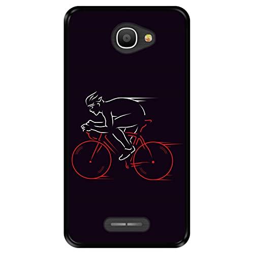 Hapdey Funda Negra para [ Alcatel Pop 4S ] diseño [ Atleta, Ciclista en Bicicleta ] Carcasa Silicona Flexible TPU