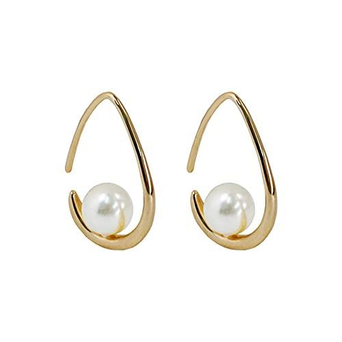 Pendientes de aro para mujer, estilo vintage, diseño de perlas, ovalado, accesorios para orejas