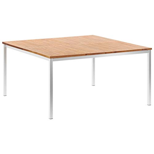SKM Tavolo da Pranzo Giardino 150x150x75cm Acacia e Acciaio Inox