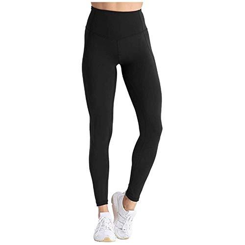 WUCHENG Pantalones deportivos yoga Legging Correr Deporte mujeres de los pantalones de entrenamiento fuera de las polainas de bolsillo Fitness Gym altura de la cintura Legging negro de la muchacha leg