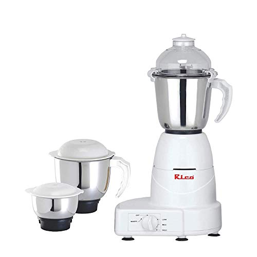 Rico Mixer Grinder with 3 Unbreakable Jar with Japanese Technology , 2 Year Warranty (White, 750 Watt) I 100% Copper Motor l Made In India