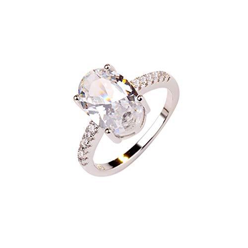 UINGKID Schmuck Damen Ring Mode Einfache Oval Weiß Zirkon