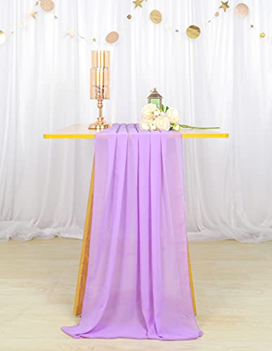 Chiffon Table Runner Lavender 29x120-inch Chiffon Table Runner 10ft Wedding Table Runner Sheer Table Runner Lilac Chiffon Tablecloth Runner Chiffon Table Runners for Weddings Parties Decorations