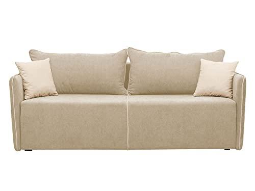 Schlafsofa Rock, Sofa Couch mit Bettkasten und Schlaffunktion, Design Bettsofa Schlafcouch, Polstersofa, Loungesofa Farbauswahl (Mikrofaza 0016 + Mikrofaza 0031)
