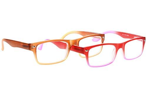 Leesbril dames stralend rood paars of reebruin donkerbruin kleurverloop grote lichte hoekige glazen transparant frame leeshulp met veerbeugel Dioptrien 1.0 bruin