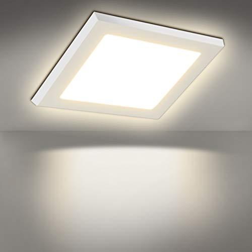 24W Warmweiß(3000K) 1800Lumen, 3 Jahre Garantie, 300mm LED Panel Leuchte Eckig Deckenlampe Aufputz Installation, ersetzt 150W Leuchtstoffröhre, Deckenleuchte, LED Panellampe, Einbaustrahler