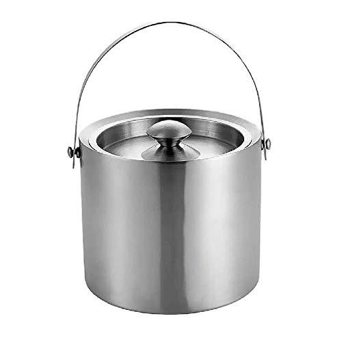 WNN-URG Metálica cubo de hielo - Acero inoxidable cubo de hielo, portátil de doble pared cubo de hielo, Licores y vinos, la cocina casera regalos de camping al aire libre de doble pared cubo de hielo