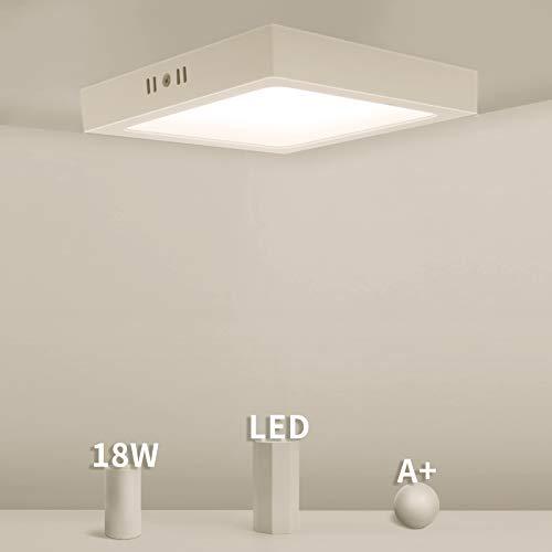 Eande 1er Deckenleuchte LED Flach 18W Deckenlampe Viereckig 3000K Warmweiß Aufputzleuchte Weisse Lampe 1500LM 230V Ersetzt 160W Halogen Aufbauleuchte Schlafzimmer Küche Flur Büro Balkon Korridor
