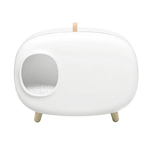 Mysida Cat Litter Box Ampliación De Arena For Gatos Caja Semi-Cerrado De La Litera Reutilizable Anti Salpicaduras Desodorante Gato Aseo For Mascotas Bandeja Fácil De Limpiar (Color : White)