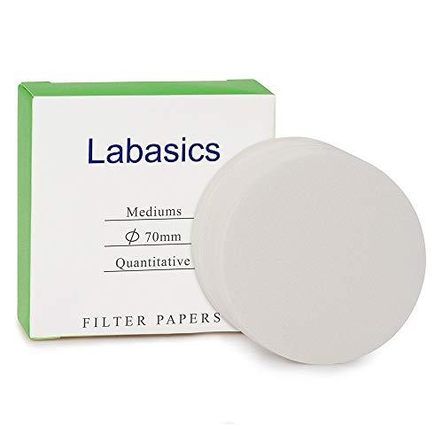 Labasics Círculos de Papel de Filtro Cuantitativo, Papel de Filtro de Celulosa de 70 mm de Diámetro con Velocidad de Filtración Media de Retención de Partículas de 20 Micrones, Paquete de 100