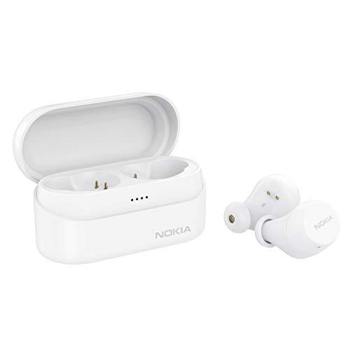 Nokia BH-405 Power Earbuds Lite Vere Cuffie Senza Fili, 35 Ore di Riproduzione, IPX7 Impermeabile, Compatibile con Bluetooth, Custodia di Ricarica Wireless Compatta, Neve Bianco