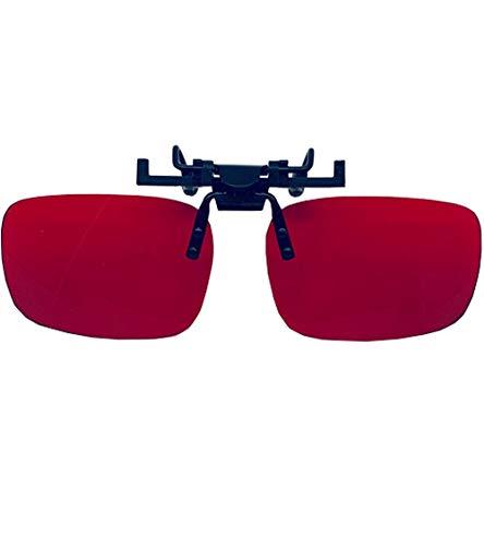Color Blind Glasses Flippable Clip On Lens for Men - Colorblind Correction for Red Green - Eyewear Color Blind People for Deutan and Protan - Red?Clip-on?