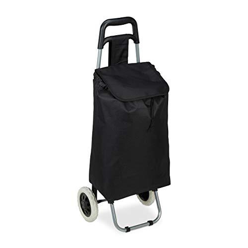 Relaxdays Einkaufstrolley klappbar, Abnehmbare Tasche 28 L, Einkaufswagen mit Rollen HxBxT: 92,5 x 42 x 28 cm, schwarz
