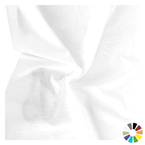 TOLKO Baumwollstoffe Meterware | Sommer Batist aus fein gekämmter Baumwolle mit Polyester | dünner Nessel-Stoff als Kleiderstoff und Gardinenstoff zum Nähen Dekorieren Basteln 145cm Breit (Weiß)