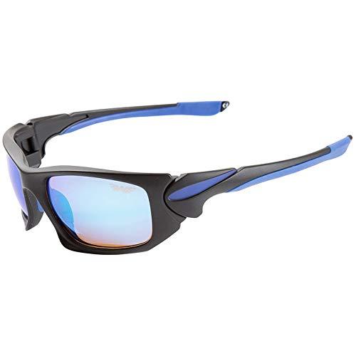 Fladen Ocean Polarisatiebril, moderne zonnebril, UV400-bescherming, blauw-oranje, krasbestendige glazen, zwart-blauw frame